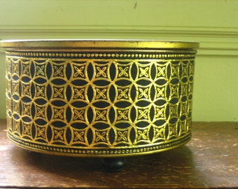 Dazzling Vintage Embossed  Footed Tin Box by Guildcraft 60s