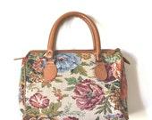 vintage floral CARPET bag.