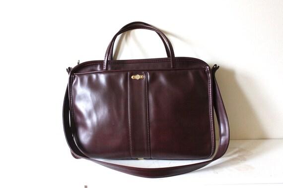 vintage CHOCOLATE vinyl briefcase.