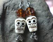 Bone Skull Day of the Dead Earrings