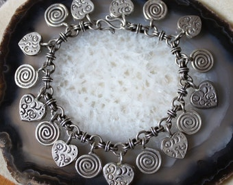 Silver Charm Bracelet, Heart Charm Bracelet, Spiral Charm Bracelet, Tribal Silver Charm Bracelet