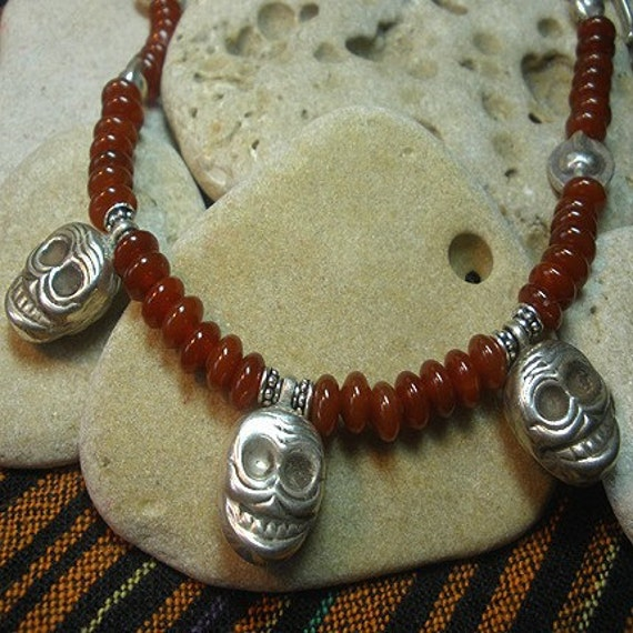 Day of the Dead Carnelian Necklace