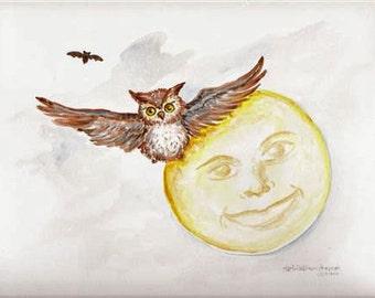 original OWL watercolor painting, Owl Flying, Full Moon painting, flying Bat