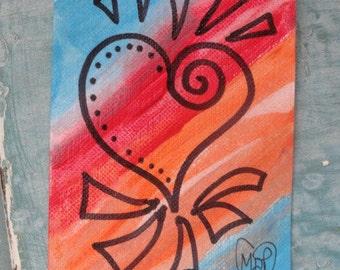 Valentine Heart Original painting, Original ACEO, Rainbow Painting, pop art
