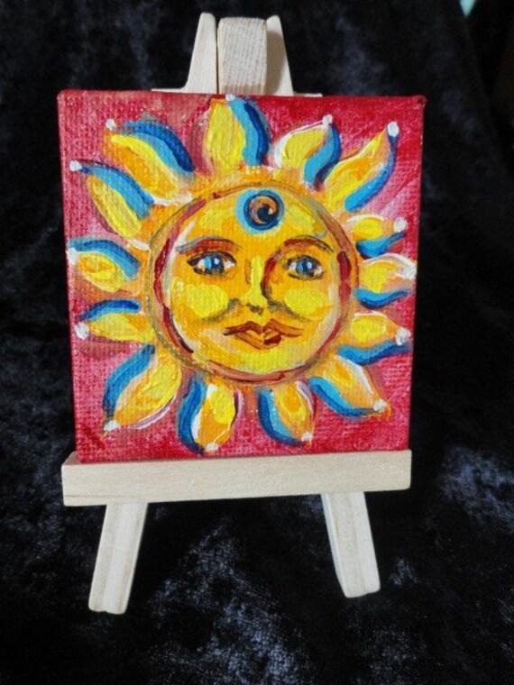 Original ACEO Sun Face Celestial Painting mini ATC