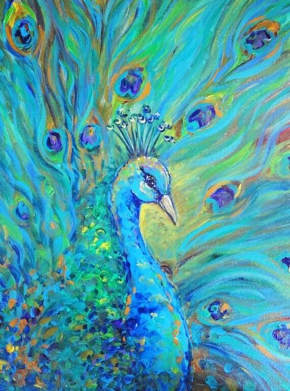 Peacock Bird Signed Print On Canvas