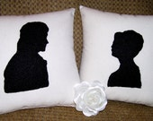NEW-Pride and Prejudice-Mr Darcy and Lizzy Silhouette Pillows-Set of 2 8x8 Pillows