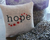 Burlap Style Sachet-'hope'-Embellished and Filled With Dried Lavender Buds