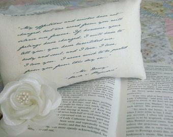 Jane Austen-Pride and Prejudice-'Mr Darcy's Declaration'-Miniature Quotation Pillow-Sweet Floral