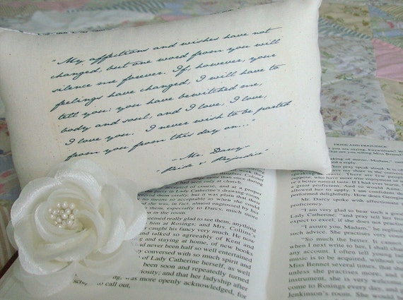 Jane Austen-Pride and Prejudice-'Mr Darcy's Declaration'-Miniature Quotation Pillow-Sweet Floral