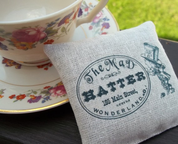 Alice in Wonderland-The Mad Hatter-Burlap Style Sachet Filled With Dried Lavender Buds
