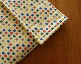 iPad Sleeve/Case with Extra Pocket in Square Dots Fabric