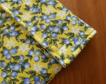 iPad Sleeve/Case with Extra Pocket in Yellow Blueberry Fabric