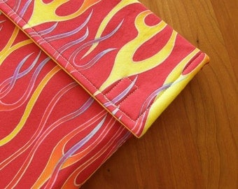 iPad Sleeve/Case with Extra Pocket in Fiery Red Fabric