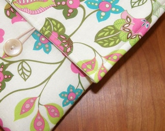 MacBook / MB Pro / MB Air Laptop Sleeve in Wild Pink Floral Fabric