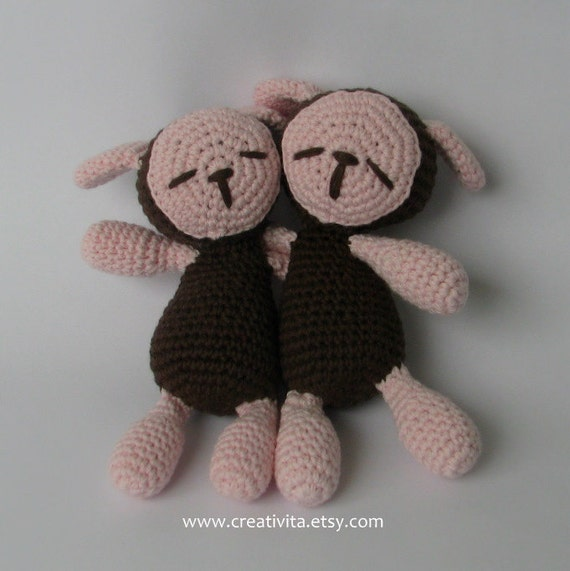 Brown and Pink Sleepy Twin Sheep