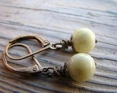Lemon Jasper and Antique Brass Lever Back Earrings