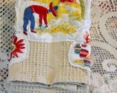 MEXICAN VILLAGE Tea Towel, Rustic Farmer Cactus Fruit Olla Seller, Red Yellow Blue Altered Tablecloth Appliques, Ecru Cotton Waffle Weave