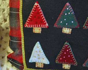 Boho TREE FOREST PILLOW Felt & Soft Red Gray Plaid Flannel Embroidered Trees French Knot Pine Cones, Gold Braid, Man Guy Christmas Cabin