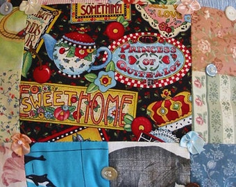 Girlie PRINCESS PATCHWORK PILLOW, Kitschy Engelbreit Motto Fabric, Pink Roses, Kite Teapot Cherries, Darling Daughter Gift, Scrappy Fabrics