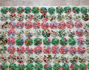 Vibrant YOYO Fabric Art COLLAGE, Field of Flowers Coral Grass Green Ecru Poppies Lilies Peonies, Handmade Texture Applique OOAK Wall Decor