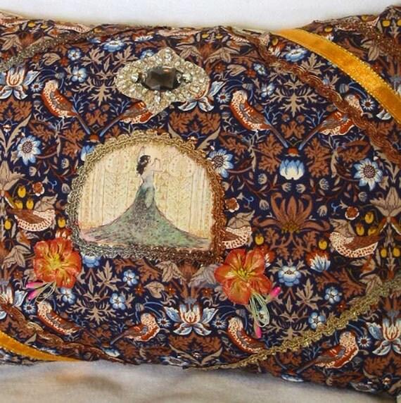 Exotic Art NOUVEAU DIVA PILLOW, Wm Morris Style Autumn Chintz, Silk Image, Lace Antique Silk Flower Ribbons, Beads, Birds, Boho Chic Gift