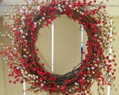 RESERVED-Merry Berry Wreath - Gold, Silver, and Red Holiday Wreath (L) - OOAK