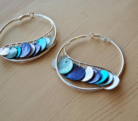 Mermaid's Tale Earrings - blue, purple, white shell on silver hoops