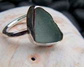 Aqua Blue Seaglass and Sterling Silver Ring