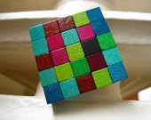 FREE SHIPPING Forest Wooden Cube Brooch