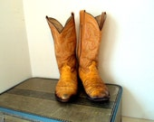 Vintage Genuine Ostrich Leather Cowboy Boots size 8.5 or cowgirl size 9.5 to 10