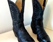Vintage Dark Blue Leather Cowboy Boots size 10.5 D or Cowgirl size 12