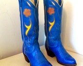 Fabulous Vintage Ralph Lauren Cowboy Boots in Vibrant Blue With Brown and Yellow Flowers