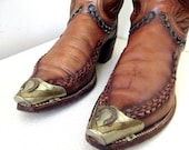 Fabulous Vintage Dan Post Brand Cowboy Boots size 8 B with the most amazing gold and silver horseshoe tips
