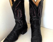 Vintage Panhandle Slim Cowboy Boots black leather with red white and blue embroidery size 9 D or cowgirl size 10.5
