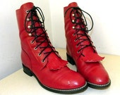 Vintage Acme brand Red Leather Lace up Combat style Cowboy boots in a cowgirl size 7.5 M