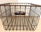 LARGE Vintage  wire gym basket or swimming pool locker number 30 ... great Flea Market Style Organizing