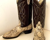 Vintage Bronco brand Cowboy Boots Brown and Faux Snakeskin size 10.5 D VEGAN FRIENDLY