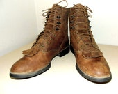 Ariat brand Brown leather cowboy work boots size 8 B or Cowgirl size 9 with removable fringe