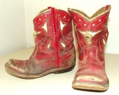 Antique Red Child size Cowboy Boots with white inlay bull design -- Great western theme decor