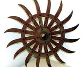 Rustic Industrial Green Rotary Hoe Blade -- found object farm art