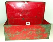 Industrial style red metal lockable box with chippy paint