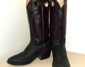 Rockin' Texas brand Black Cowboy Boots with Red trim and embroidery size 6 B