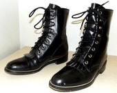 Black Leather lace up Lacers -- Justin brand -- size 7 B --cowboy boots -- removable fringe