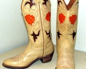Vintage Texas Brand Cowgirl boots in creamy light tan with orange rose inlay design