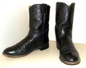 Black Leather Justin brand cowboy boots size 9.5 D or cowgirl size 11 to 11.5