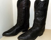 Black on Black leather Laredo cowboy boots size 8 D or cowgirl size 9.5