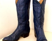 SOLD to MFW -- Blue Leather Cowboy Boots by Teners Western Outfitters in a patchwork fashion