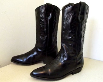 Vintage Seychelles brand western cowgirl boots - shiney black - womens size 7