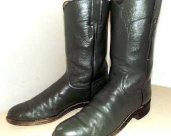 Vintage Justin Roper style cowboy boots size 7 B in a greyish camo green